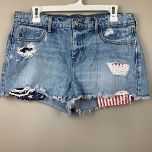 Old Navy | Distressed Jean Shorts Sz 8 Patriotic